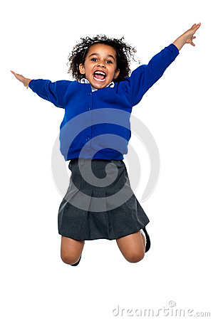 Free Jubilant School Kid Jumping High Up In The Air Royalty Free Stock Photo - 28116595