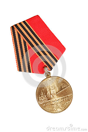 Free Jubilee Medal 50 Years Of Victory In Great Patriotic War. Isolated On White. Illustrative Editorial. Royalty Free Stock Photo - 70671235