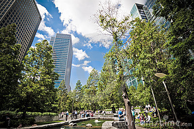 Jubilee Park at Canary Wharf, London Editorial Photo