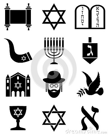 Free Judaism Black And White Icons Royalty Free Stock Image - 27126556