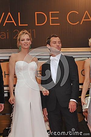 Jude Law,Uma Thurman Editorial Stock Photo
