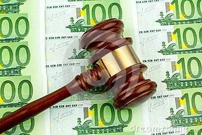 Judge gavel and euro banknotes