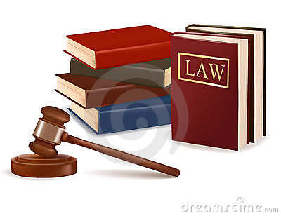 Judge gavel and law books.