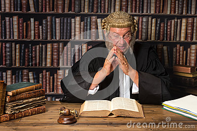 Judge with law books
