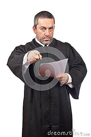 Judge reading the sentence