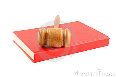 Judge s gavel on red legal book isolated
