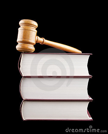 Judge s gavel and stack of legal books