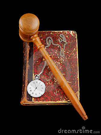 Judge s gavel and very old legal book