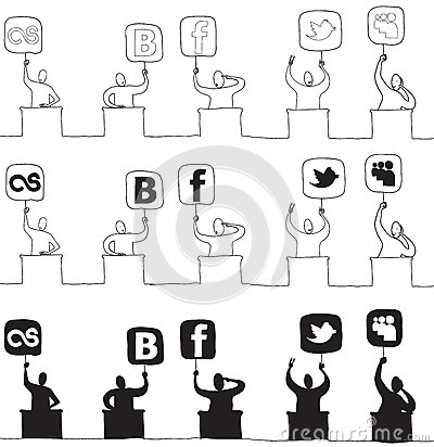 Judge with social network icon Editorial Stock Photo