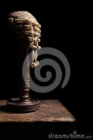 Judge wig on stand