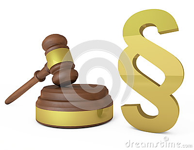 Judges gavel and paragraph symbol