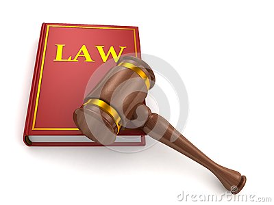 Judges wooden gavel and law book on white
