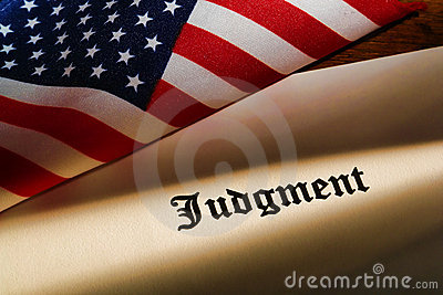 Judgment Legal Decree and American Flag