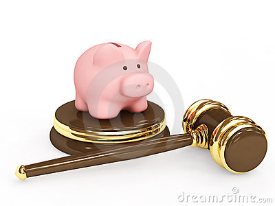 Judicial 3d gavel and piggy bank