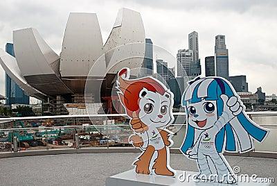 JUEGOS OLÍMPICOS 2010 DE LA JUVENTUD DE SINGAPUR: mascotas Foto de archivo editorial