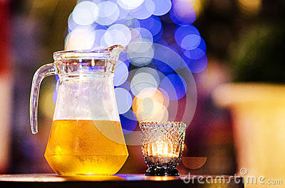 A jug of cold beer