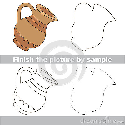 jug drawing worksheet stock vector image 70128918. Black Bedroom Furniture Sets. Home Design Ideas