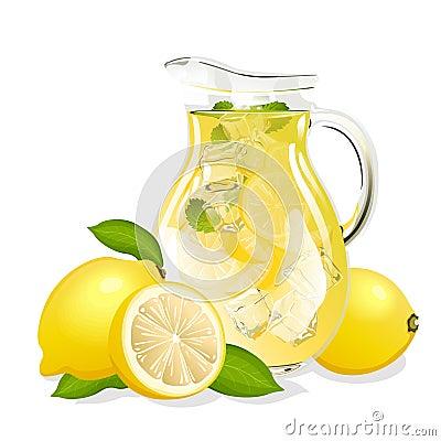 Jug of fresh lemonade Vector Illustration