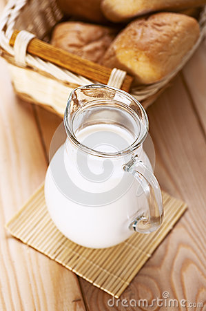Jug Of Fresh Milk And Basket Royalty Free Stock Image - Image: 26743506