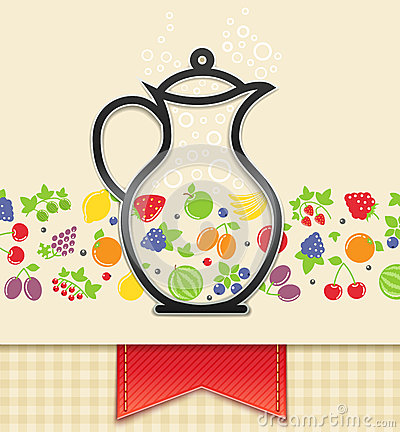 Jug with fruit and berry, food background