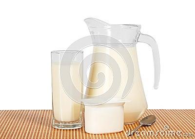 Jug and glass with milk, yogurt