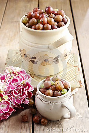 Jug of gooseberries on wooden table