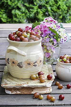 Jug of gooseberry on wooden table