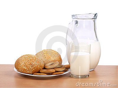 Jug with milk and loaves