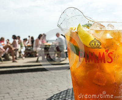 Jug of Pimm s Drink Outdoors Editorial Photography