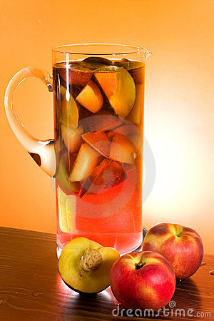 Jug With Sangria And Peaches