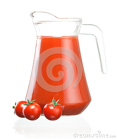 Jug of tomato juice and three fruits