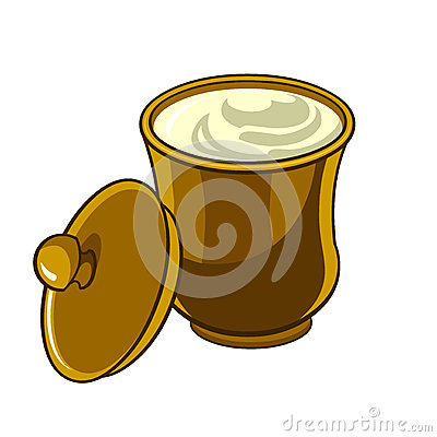 Free Jug With Lid With Sour Cream Royalty Free Stock Image - 47205356