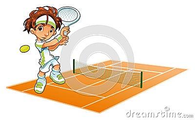 Jugador de tenis del bebé con el fondo