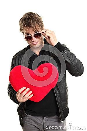 Jugador del hombre del día de tarjetas del día de San Valentín