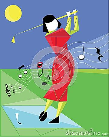 Jugando a golf tenga gusto de una melodía