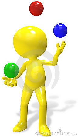 Juggler cartoon 3D person  juggles RGB balls