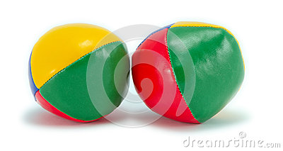 Juggling balls isolated on white with shadow