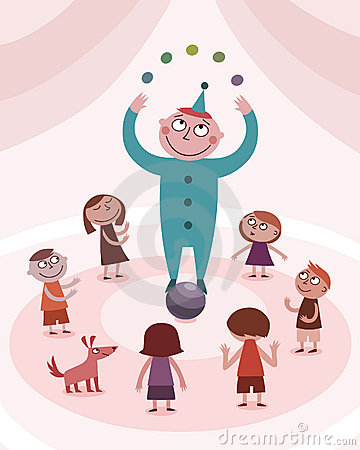 Juggling boy and kids
