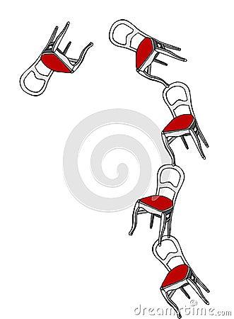 Juggling chairs loosing balance