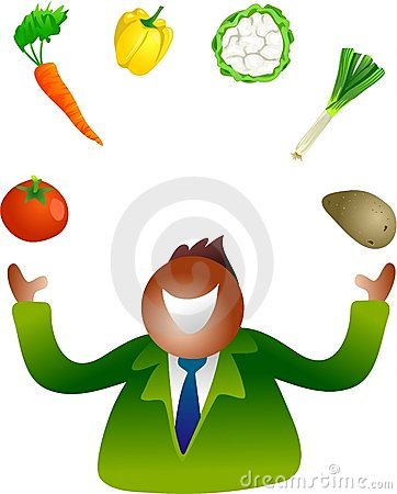 Juggling vegetables