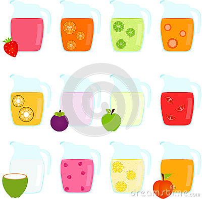 Jugs of Fruit Juice