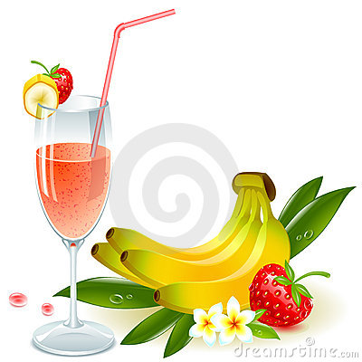 Juice of banana and strawberry