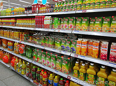 Juice And Beverages In Supermarket Editorial Stock Image