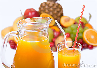 Juice and colorful fruits