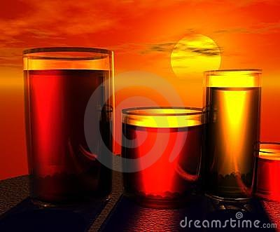 Juice Glasses at Sunset