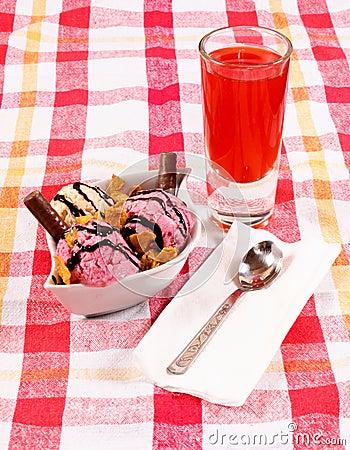 Juice and ice cream