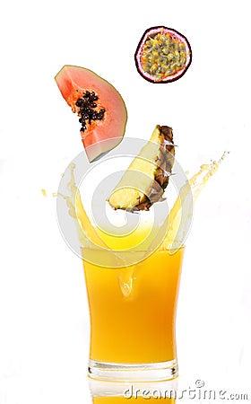Free Juice Splash With Tropical Fruits Royalty Free Stock Image - 12947566
