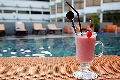 Juice at swimming pool outdoor