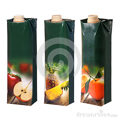 Juices cartons with screw cap