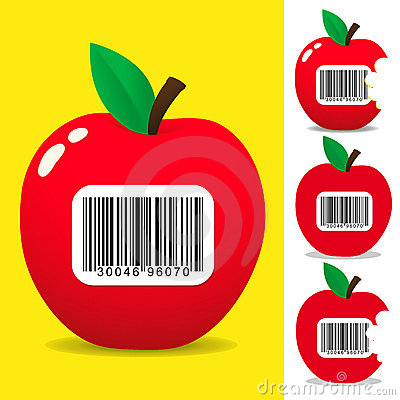Juicy apple with bar code label